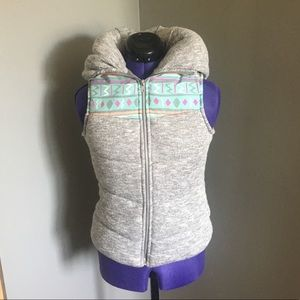 Grey Heather soft vest with colorful accent strip